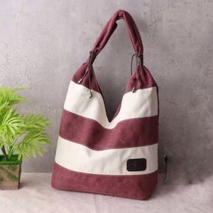Handbags - Paneled striped canvas tote women handbag